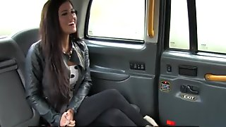 Busty backseat hottie banged on taxi spycam
