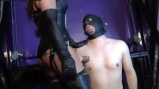 Femdom Mistresses unite for strap-on training of male slave