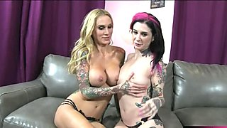 Two tattooed emos get fucked on turns and cum swapping