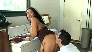 Stunning brunette milf Sienna West blowing dick on her knees