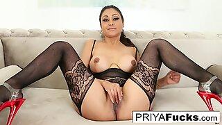 Sexy Indian MILF Priya Rai pleases her sexual urges