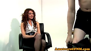 Pussylicked CFNM femdom babe cockriding sub