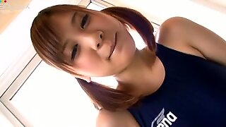 Sporty spunked chick with pigtails Nozomi Chan poses in swimsuit