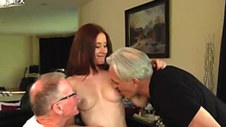 Inexcusably lucky old farts fuck fierce redhead babe