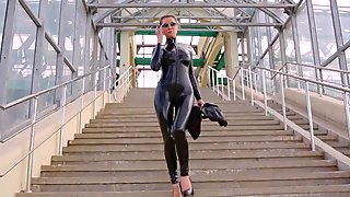 beautiful in black catsuit