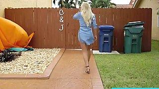 Lovely blonde teen Brice Bardot rides Jmacs monster cock