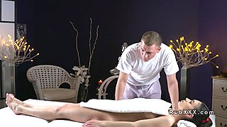 Hairy cunt Rissian babe fucks masseur