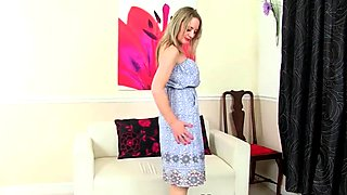 British mom Sofia fucks herself with a dildo
