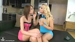 Beautiful brunettes having hot sex in the bathroom