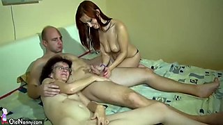 Horny amateur granny joins them for a hardcore threesome