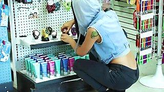 Teen shoplifter Kat Arina bangs in her pussy