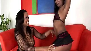 BBW black hooker Kandi Kream and Stacey Cash eat one another in lesbian sex video