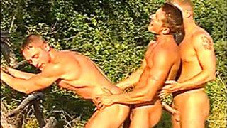 Threesome gays fucks anal bareback getting rammed