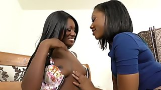 Arousing ebony lesbos have a get together of their own